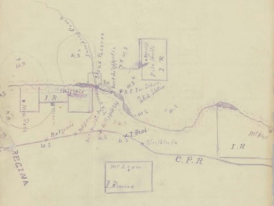Each set of archival records is unique and requires a hand crafted map to find treasures. This 1888 map of the Qu'Appelle Valley in Saskatchewan is from the Andrew Baird Papers.