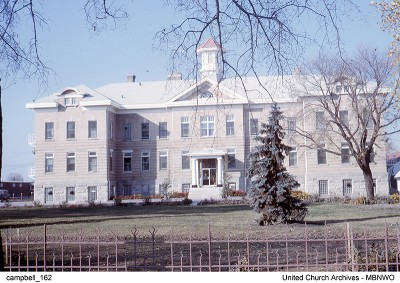 Portage la Prairie Residential School, in   1963 when it was functioning as a residence only.  UCArchivesWpg campbell 162