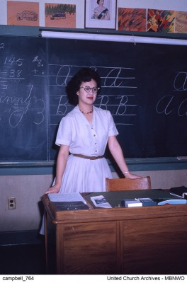 Verna Kirkness taught at the combined Residential/Day School at Norway House, here in 1962.  UCArchivesWpg campbell 764