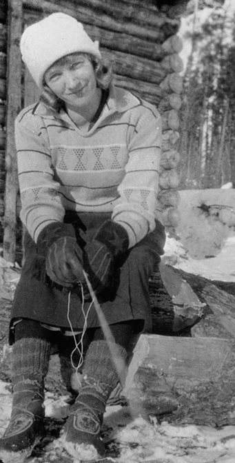Dorinda Sturdy lived in a cabin while teaching at the day school at Island Lake in Northern Manitoba. UCCArchivesWpg 124