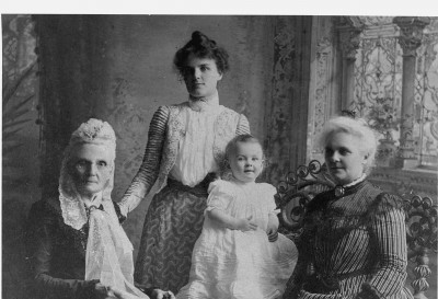 Four generations of women, ca. 1904. At the left, Clarissa Vanderburgh Bingham (1819–1906), on the far right, her daughter Elizabeth Bingham Young (1843–1934), and, between them, Elizabeth's daughter Grace Amanda Young Brown (1876–1934) and Grace's daughter, Elizabeth Brown (1902–90) (and the author's grandmother.) Photo courtesy of Jennifer Brown