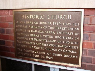 Church plaques commemorating consummation: not all the common, but this one from St. Paul's in Thunder Bay does just that.  The Heritage project recognizes buildings, people and all kinds of events in the life of the church. UCArchivesWpg Gillis photo