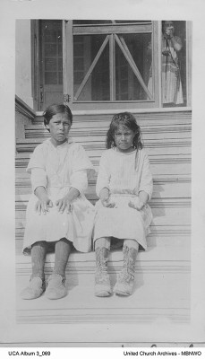 Two new Norway House Residential School pupils from Cross Lake, 1925. UCArchivesWpg album 3 069