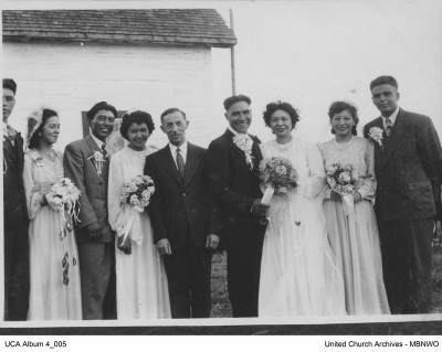 The first wedding performed by Rev. Stern at Fisher River, Manitoba.  Possibly the bride is Dorothy Crate.  UCArchivesWpg album 4 05