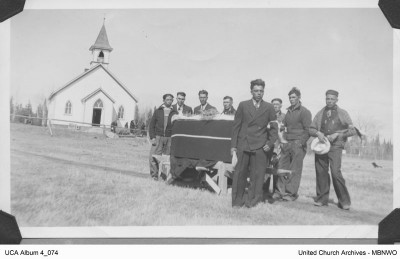 John Niddrie (b. 1863) served among Aboriginal people in Northern Manitoba: Oxford House (1910-1915), Island Lake (1915 - 1920) and Beren's River until his retirement in 1938. He was buried in Beren's River, May 4, 1940. UCCArchives album4 074