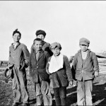 Matthew Crate, Andrew Grieves, Moses Apitikun, Tommy Alberts, Joseph Alberts Norway House students 1929. (UCCArchives bruce001)