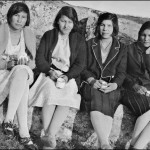 Four female students (names unknown) at school picnic on Mission Point, Norway House c 1929-32 (UCCArchivesWpg bruce018)