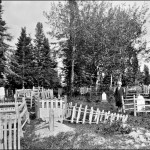 Anna Bruce, Mary's sister, standing in the Aboriginal cemetery at Norway House, c 1929-32. (UCCArchivesWpg bruce212)