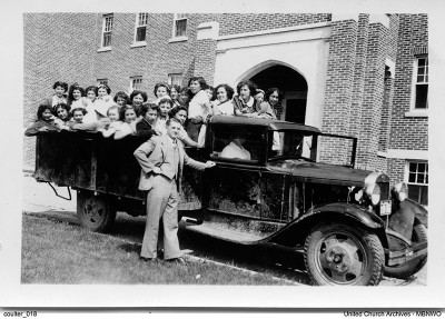 Brandon Residential School students headed to First United Church in Brandon, c. 1937.  UCArchivesWpg coulter 018