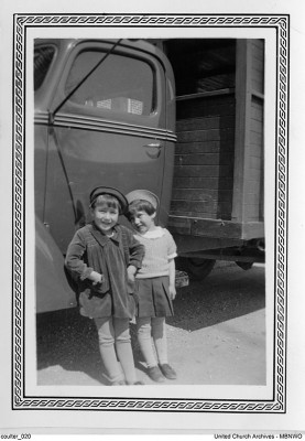 """""""New at School"""" is the caption on this undated photo (c.1940).  The school started at kindergarten, for children as young as 5.  UCArchivesWpg coulter 20"""