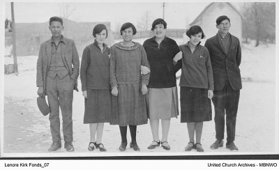 Students attended schools in Brandon, starting in the 1920s.  These 6 were at Brandon Collegiate in 1926-27. After 1961, it was only a residence.  UCArchivesWpg kirk 07