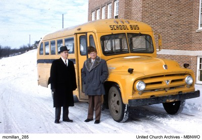 Dr. MacDonald and Brandon Residential School Principal Lachlan McLean in front of the Brandon School bus c. 1957. UCArchivesWpg mcmillan 285