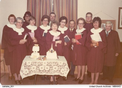 Celebrating their 50th Anniversary in 1970, Oak Lake United Church, Manitoba choir.  UCArchviesWpg oaklake 01